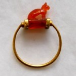 Carnelian Cat Ring Wedjat Eye underneath 3rd Intermediate Period British Museum