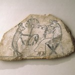 Cat and Mouse Ostracon, Ancient Egypt Brooklyn Museum