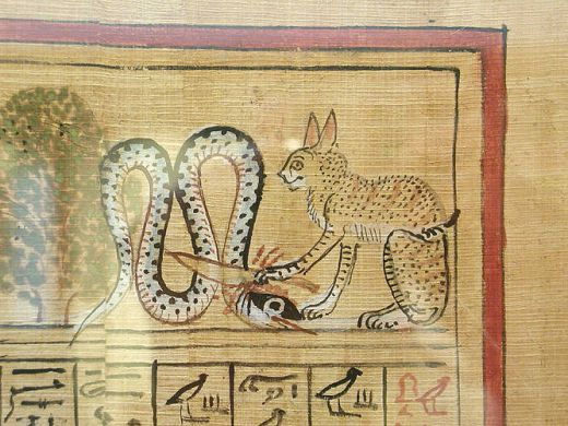 Papyrus of Hunefer Cat as Ra Killing a Snake Thebes