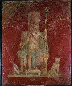 Bacchus on a Throne with Cat at his Side, 1st C AD Pompeii
