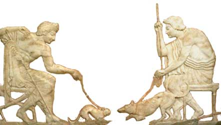 Cat and Dog Fight Bas Relief   - 12.2KB