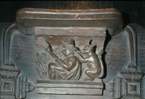 Misericord 15th Century Great Malvern Priory Witch and Cat