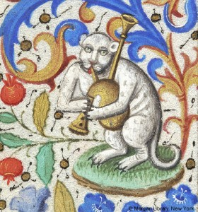 Cat Playing a Bagpipe 1460 Book of Hours for use of Rome Hours of theVirgin office of the Dead Paris MSM.0282 fol.133v. Source: P. Morgan Library, New York