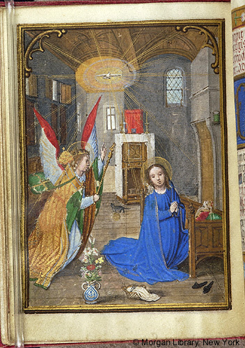 Angel Gabriel, Virgin Mary and Cat Between 1531 Book of Hours Bruge,Belgium MSM.0451 fol.7v. Source: P. Morgan Library, New York