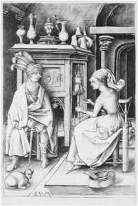 The Spinner and the Visitor 15th Century Israhel Van Meckenem