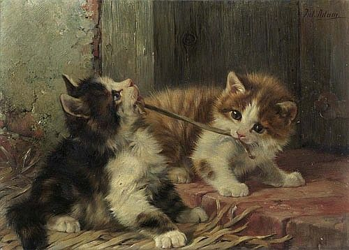Two Cats Playing Oil on Panel 15 X 20 cm Private Collection