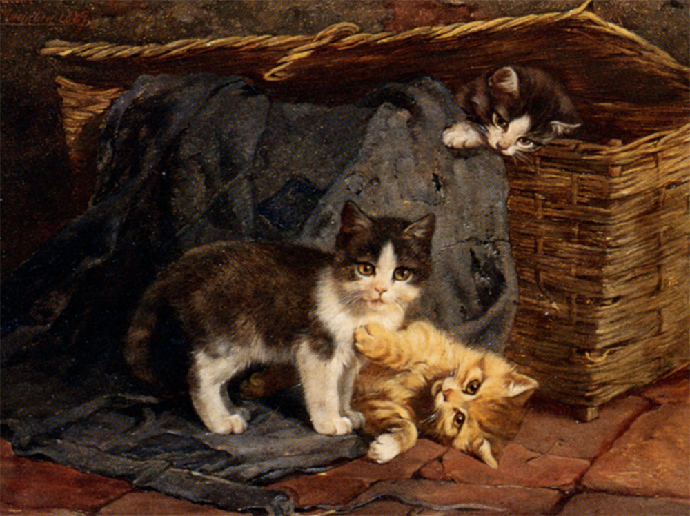 The Playful Kittens Julius Adam Oil on Panel 1887