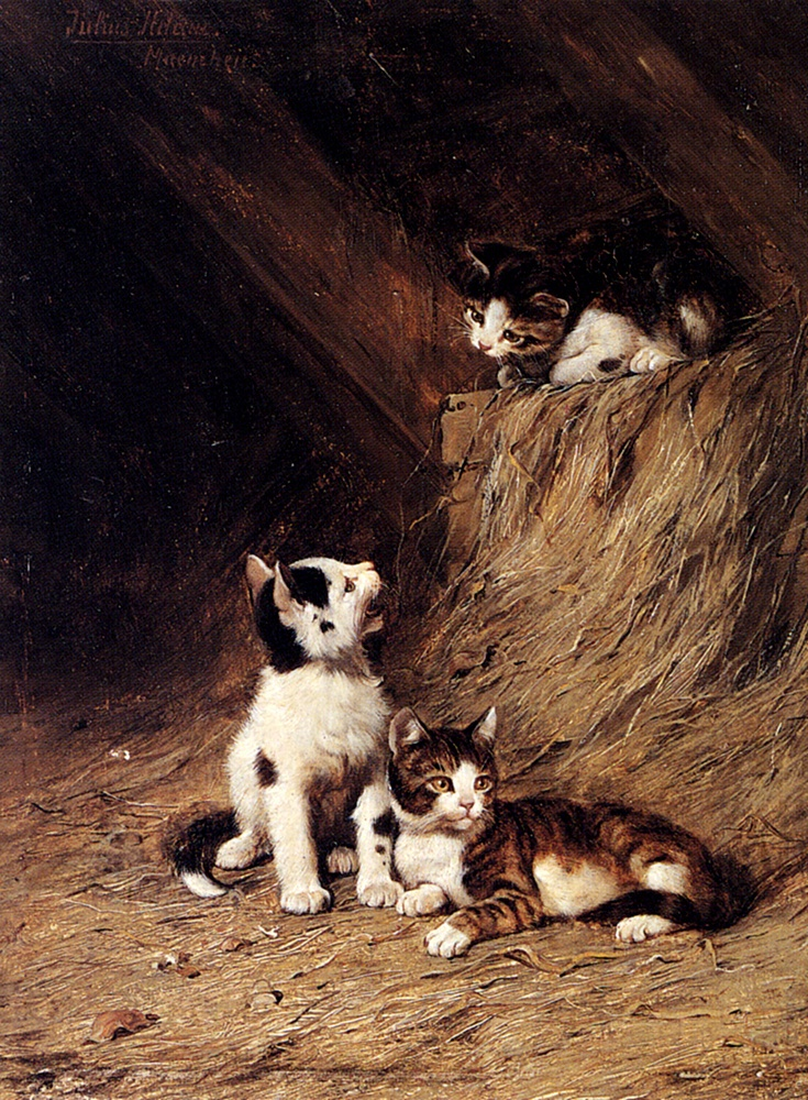 The Hayloft Julius Adam, private collection - cats in art