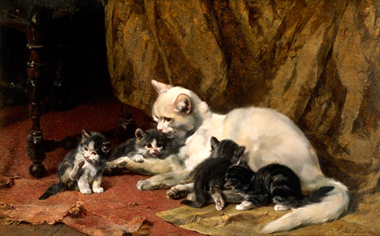Mother Cat with her Young Julius Adam Private Collection cats in art