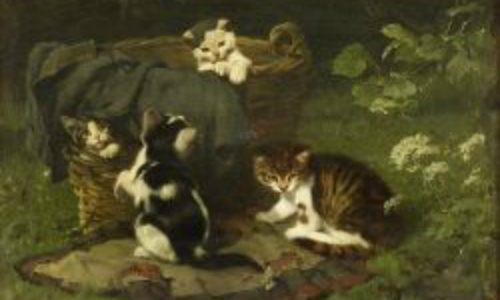 Playful Kittens Julius Adam II Oil on Panel, 1886 23.8 X 32 cms Private Collection