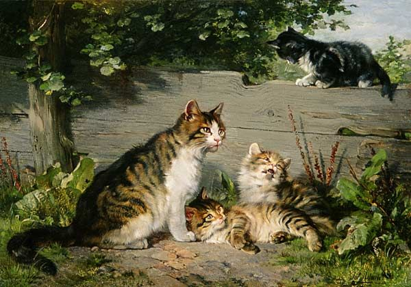 Mother Cat with Three Boys Julius Adam II