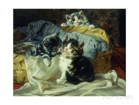 Kittens Playing in a Basket Julius Adam Private Collection