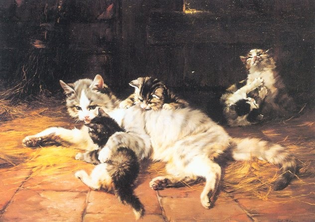 Mother and Kittens Julius Adam II Private collection