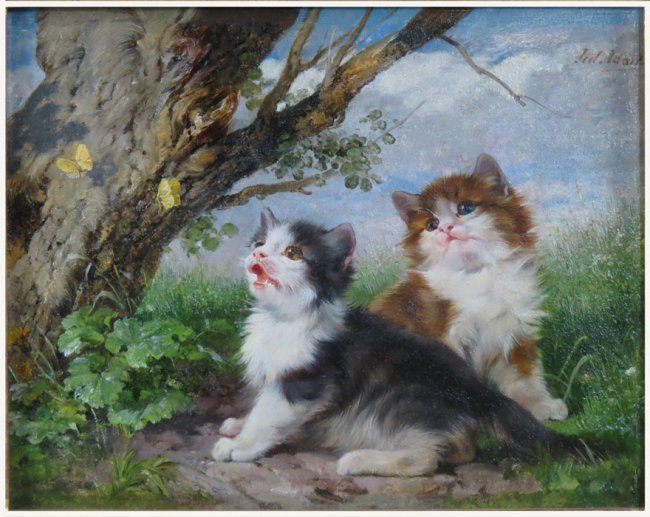Two Kittens Stalking Butterflies Julius Adam Private Collection