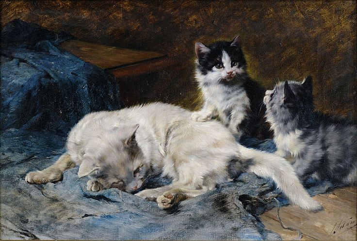 Mother and Two Kittens Julius Adam Private Collection
