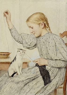 Girl with Cat Albert Anker Private Collection- cats in art