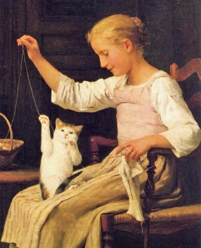Girl Knitting Albert Anker Private Collection paintings with girls and cats