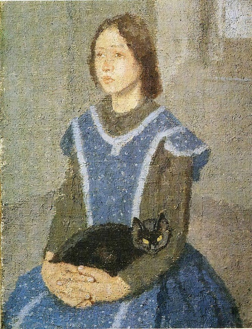Girl with Cat Gwen John 1925 cats in art