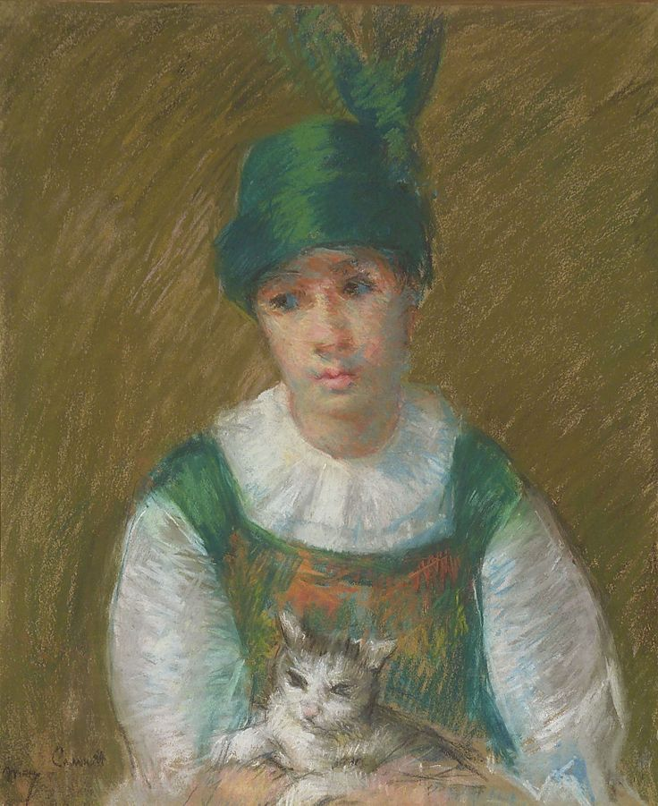 Young woman wearing a small winged hat holding a cat 1914 cats in art