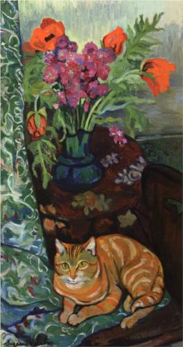 Bouquet and Cat Suzanne Valadon Oil on Canvas 1919 Private Collection