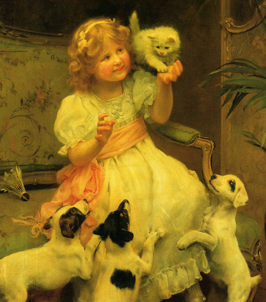 Girl with Kitten and Puppies Arthur John Elsley Private Collection