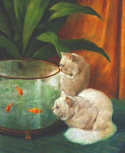 Two White Persian Cats Looking into a Goldfish Bowl Private Collection