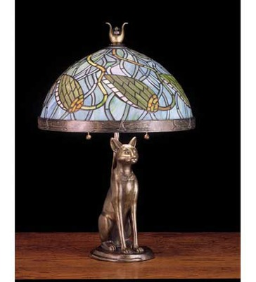 Lotus Bud with Bastet Cat Art Glass Table Lamp