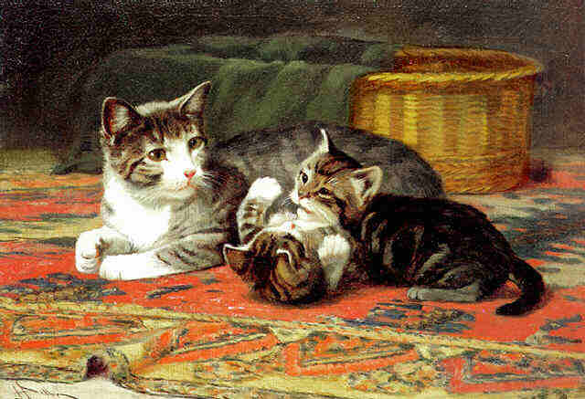 A Cat and Her Kittens John Henry Dolph Private Collection