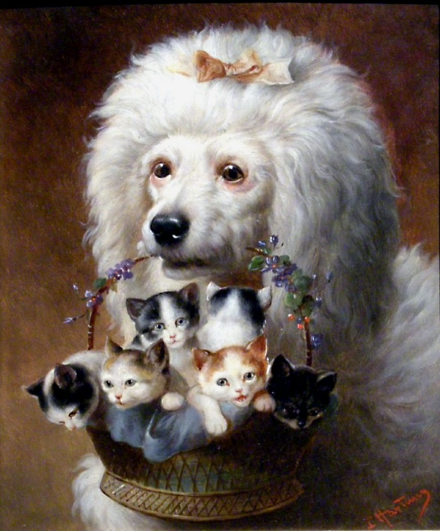 dogs and cats in art