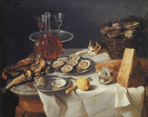 Still Life with Cat Alexandre Francoise Desportes Private Collection, Perronneau, Crespi, Desportes