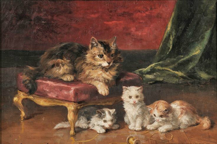 Mother Cat and her Kittens cats and kittens in art