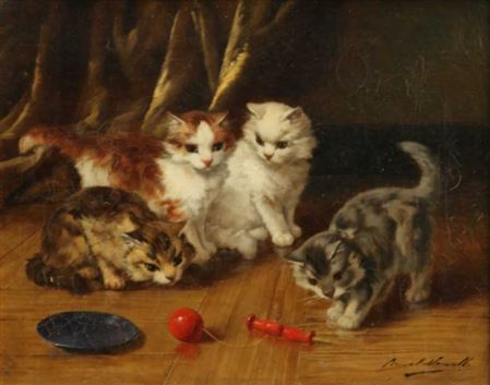 Four Cats Playing Brunel de Neuville