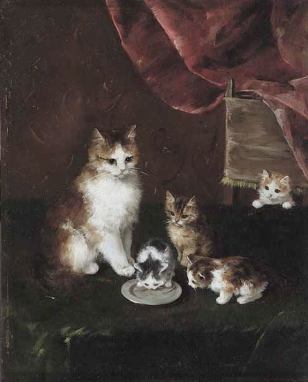 Proud Mother - cats in art