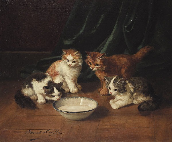 The Bowl of Milk - cats in art