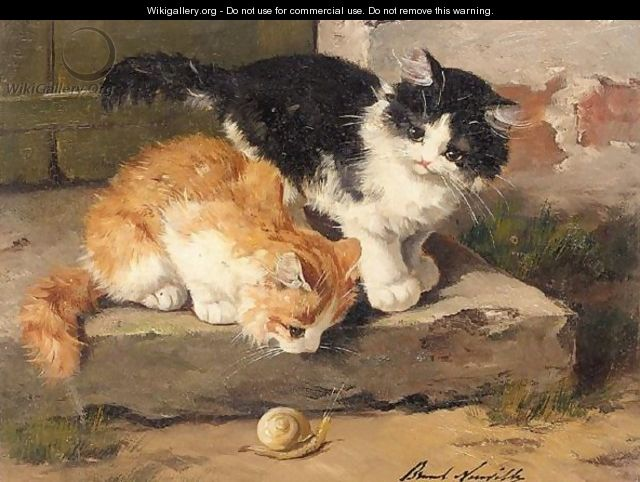 Two Kittens and a Snail Brunel de Neuville