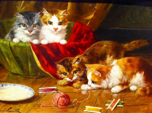 Four Kittens and a New Toy - Brunel de Neuville