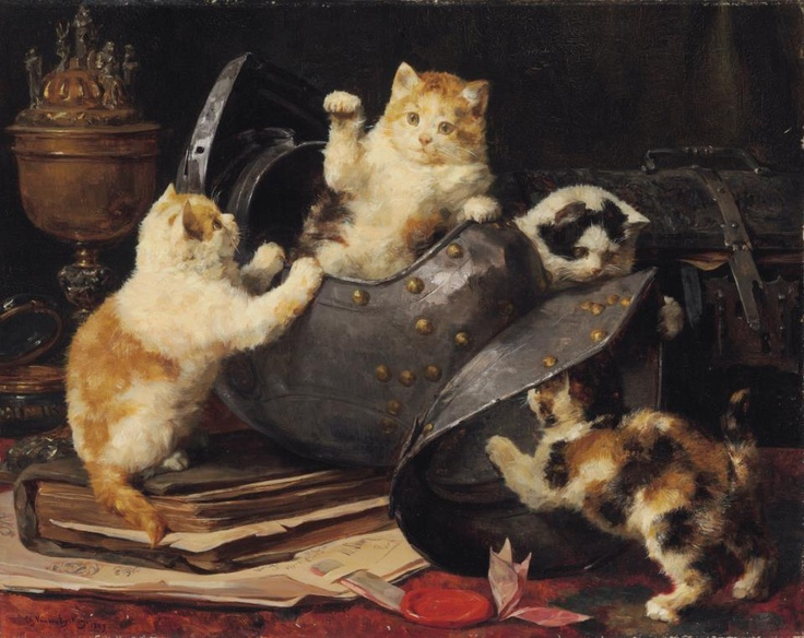 Four Kittens and a Helmet, Charles Van den Eycken Private collection cats in 19th century art