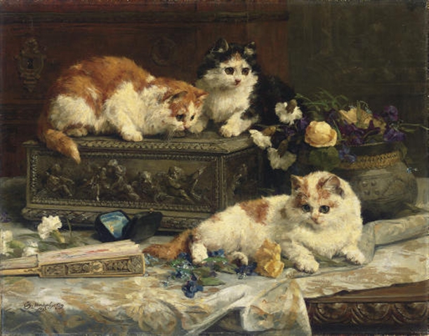 In the Boudoir , Charles Van den Eycken Private Collection victorian cats