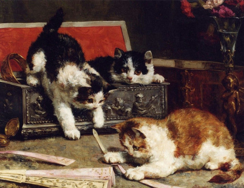 Kittens Playing with a Fan, Charles Van den Eycken private collection