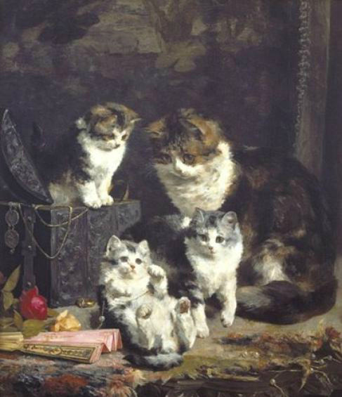 Kittens with Fan and Mother, Charles Van den Eycken Private Collection