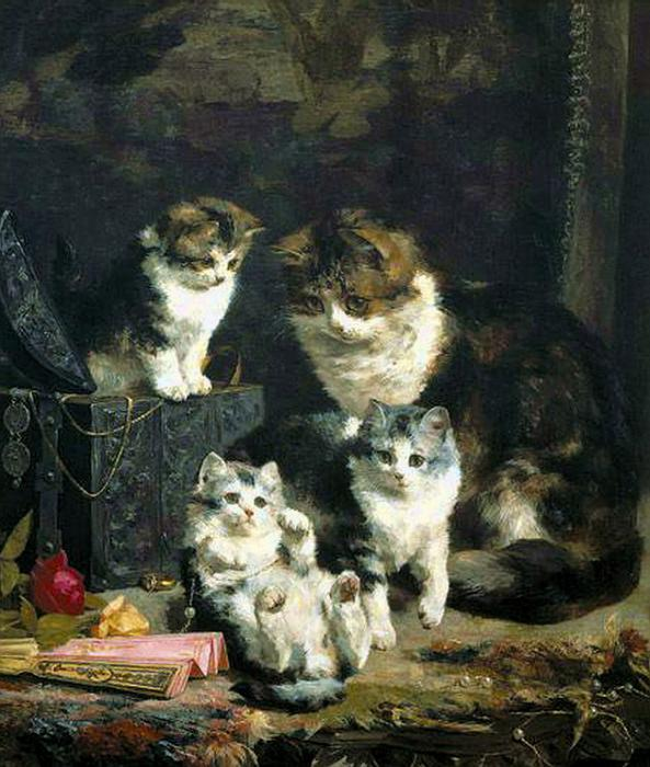 Mother and three kittens Charles Van den Eycken private collection