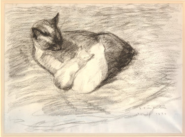 Nursing Time 1920 cats in paintings Steinlen