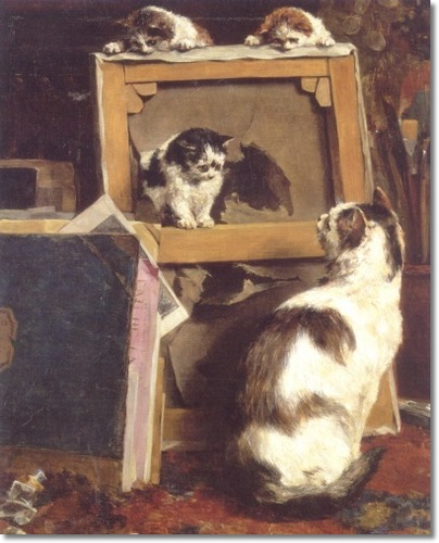 The Torn Canvas, Charles Van den Eycken Private Collection cats in art