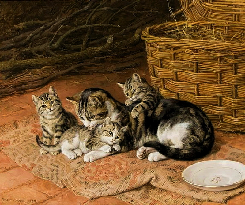 A Proud Mother Frank Paton Private Collection cats in art