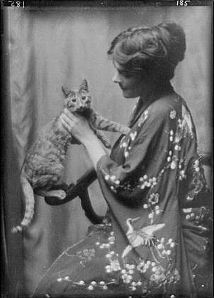 Gertrude Warren with Buzzer the Cat