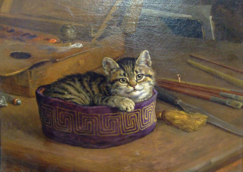 Study of a Cat private collection cats in art