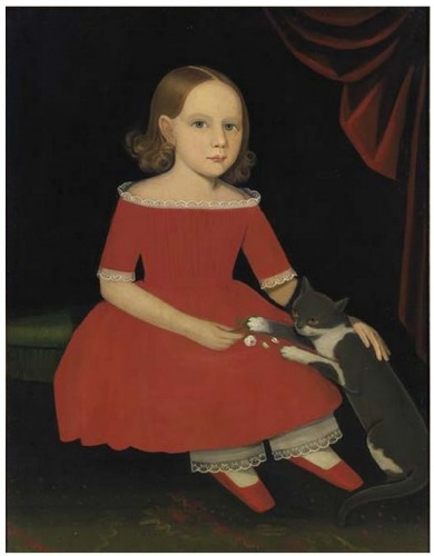 AMMI PHILLIPS (1788 - 1865). Portrait of a Young Girl and her Cat . Oil on canvas . 36 x 28 in . Circa 1830-1835 cats in art