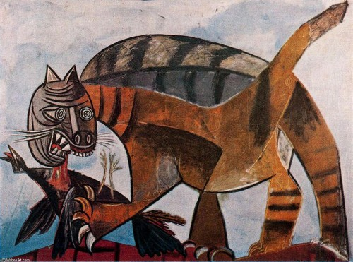 Cat Seizing a Bird 1939 PIcasso Cats Cats in Art