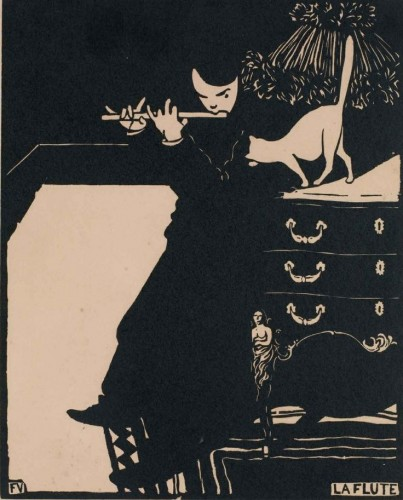 Félix Vallotton Man Playing a Flute Van Gogh Museum, Amsterdam cats in paintings