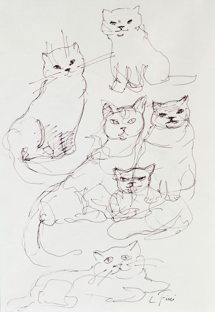 Cats Ink Drawing 1974 Leonor Fini